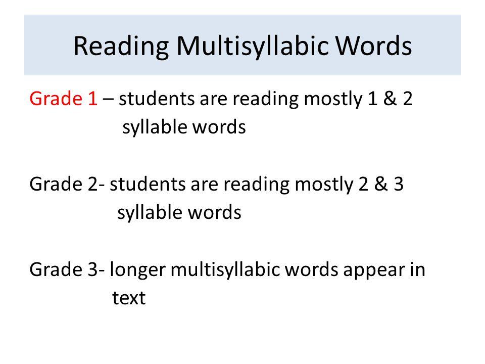 Reading Multisyllabic Words