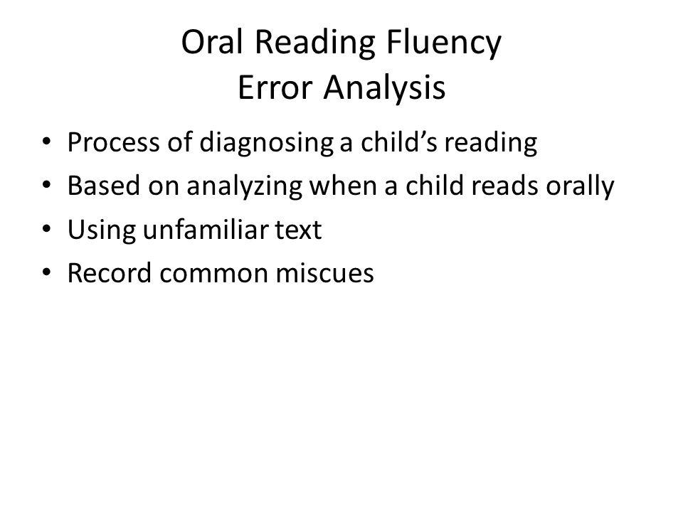 Oral Reading Fluency Error Analysis