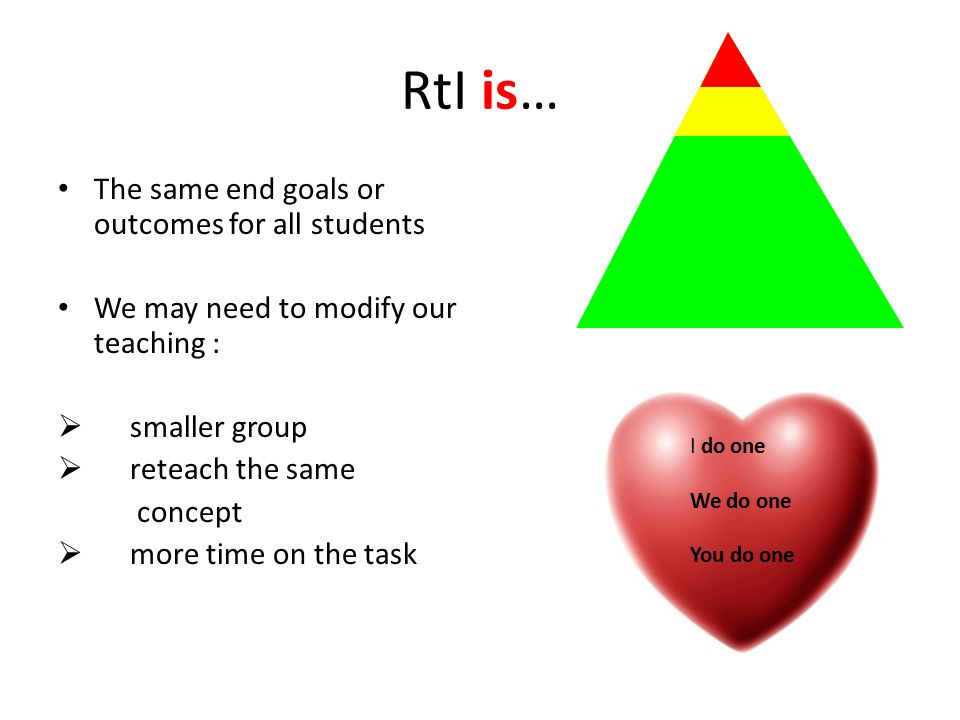 RtI is… The same end goals or outcomes for all students