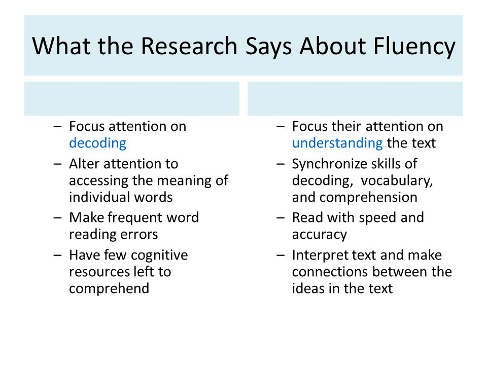 What the Research Says About Fluency