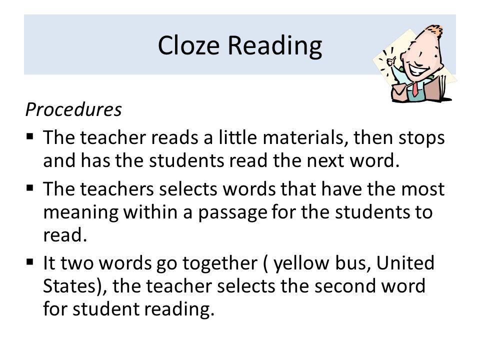 Cloze Reading Procedures