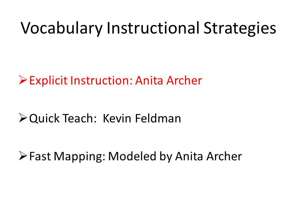 Vocabulary Instructional Strategies