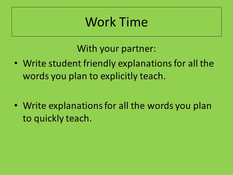 Work Time With your partner: