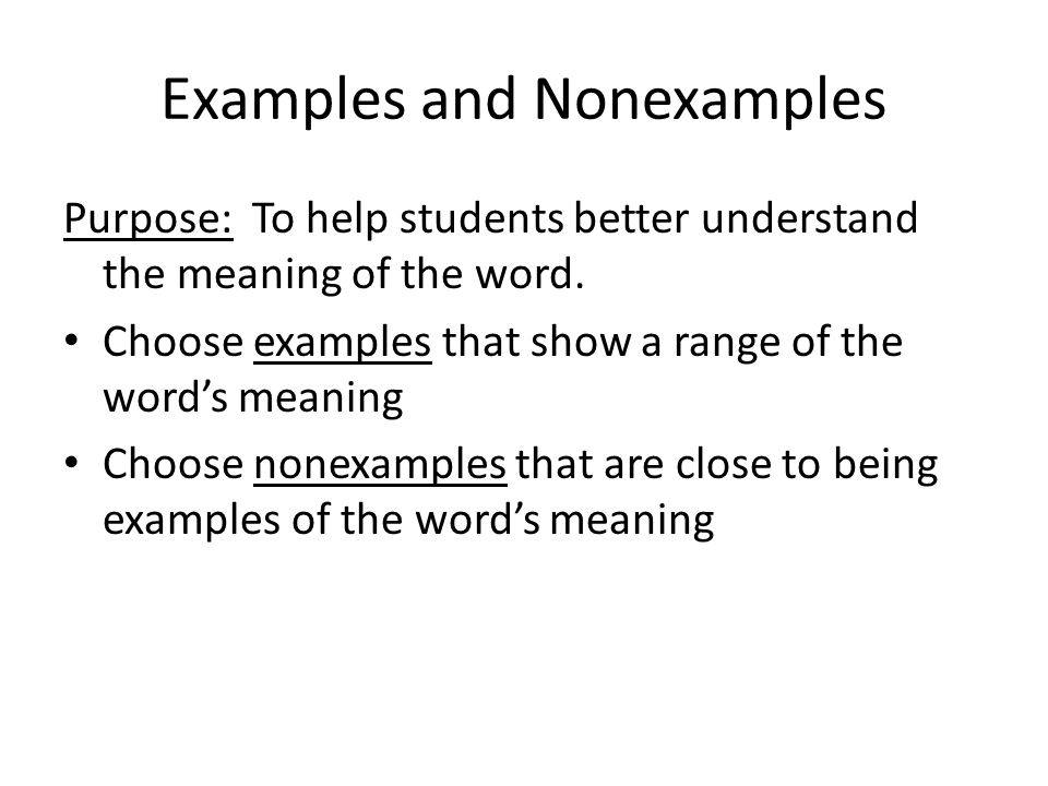 Examples and Nonexamples