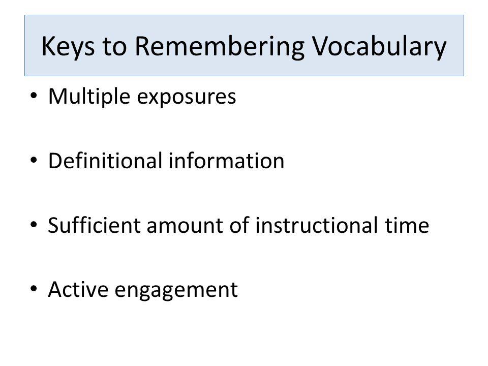 Keys to Remembering Vocabulary