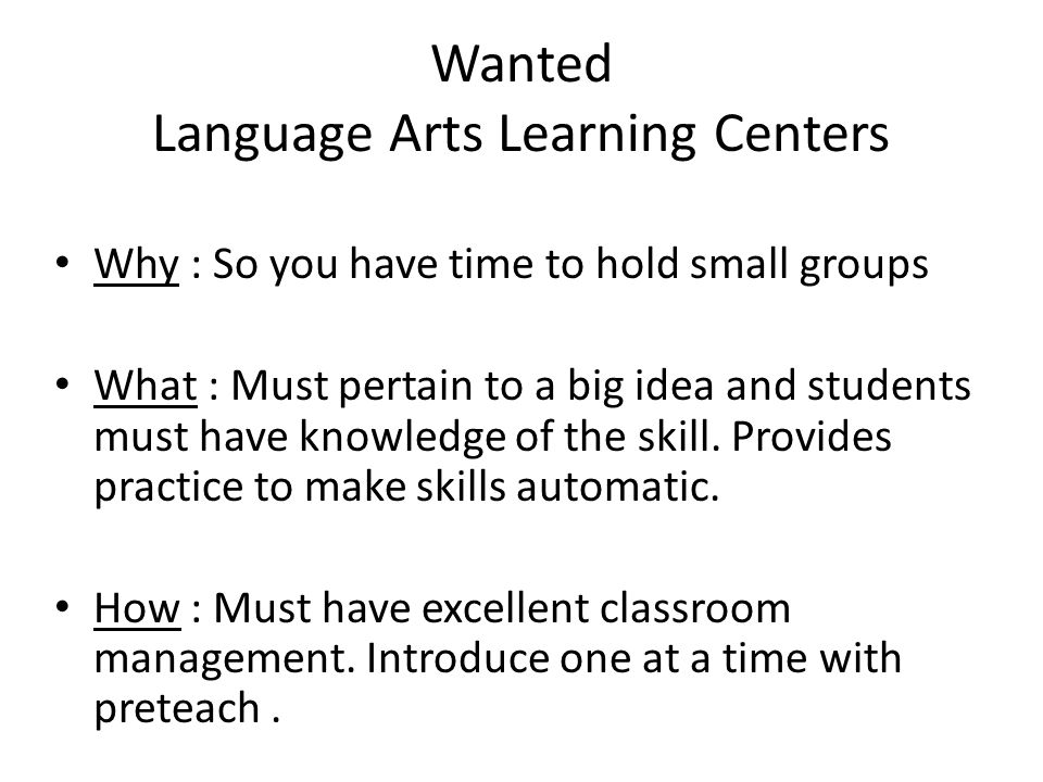 Wanted Language Arts Learning Centers