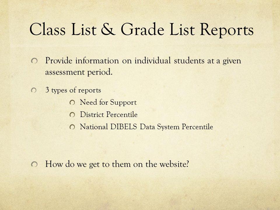 Class List & Grade List Reports