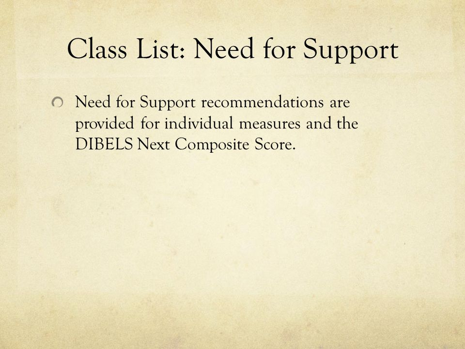 Class List: Need for Support