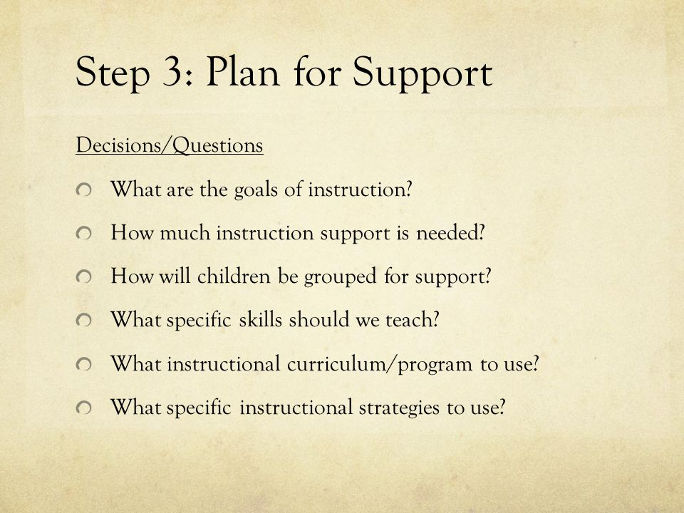 Step 3: Plan for Support Decisions/Questions