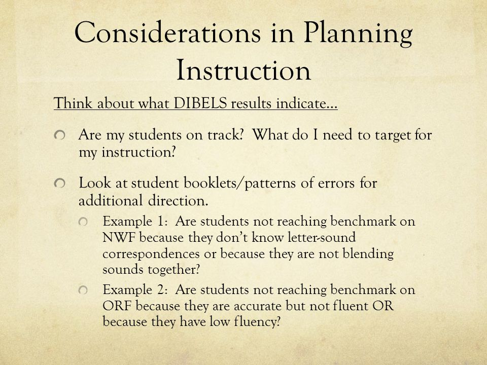 Considerations in Planning Instruction