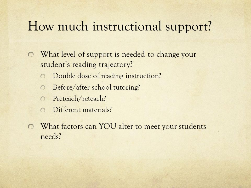 How much instructional support