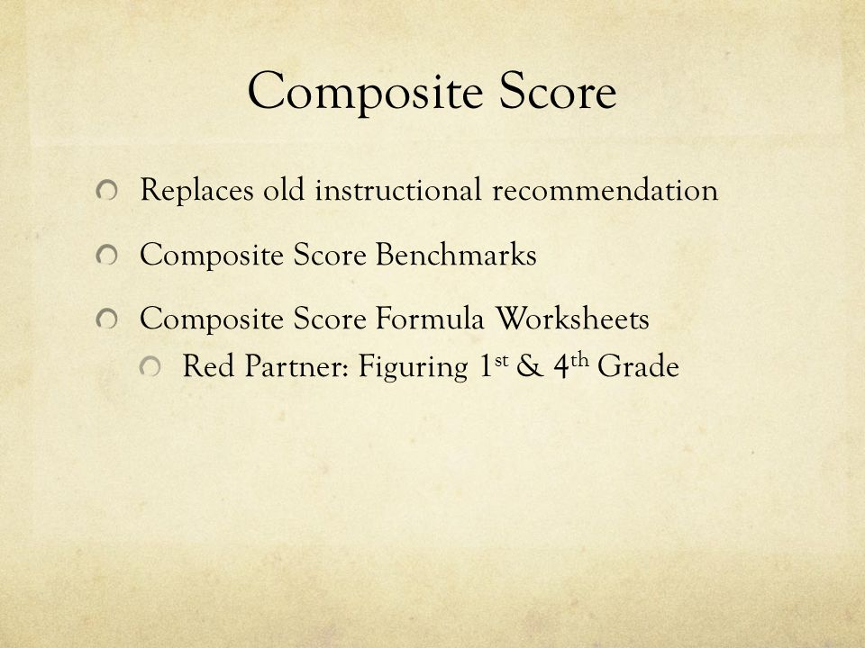 Composite Score Replaces old instructional recommendation