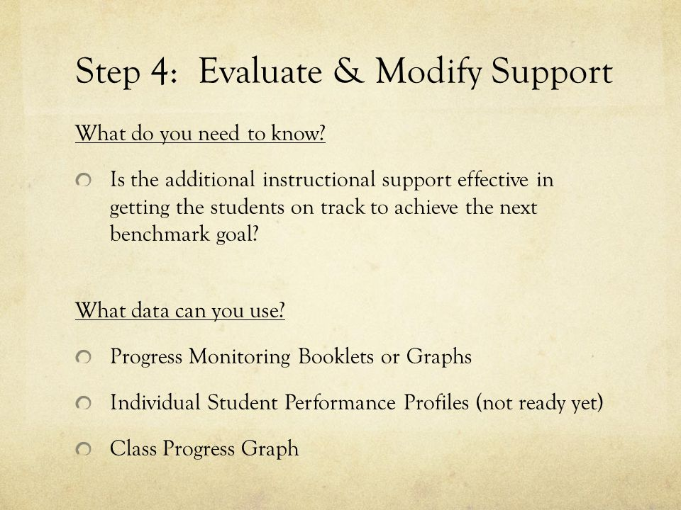 Step 4: Evaluate & Modify Support