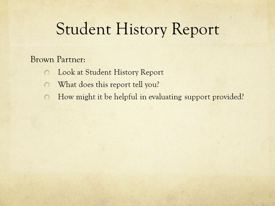 Student History Report