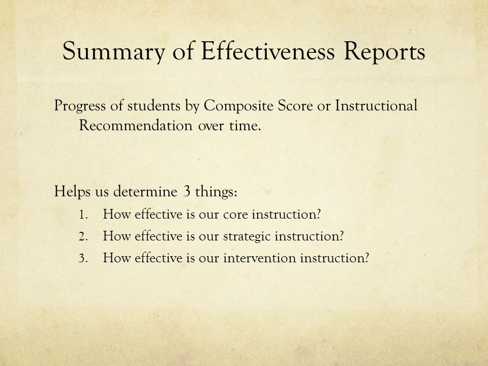 Summary of Effectiveness Reports