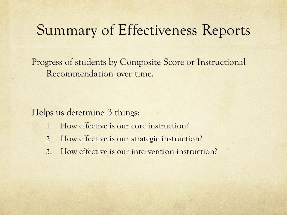Summary of Effectiveness Reports