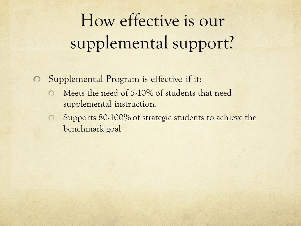 How effective is our supplemental support