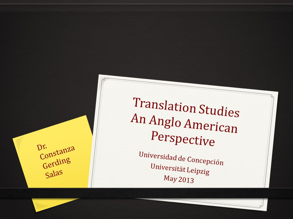 Translation Studies An Anglo American Perspective
