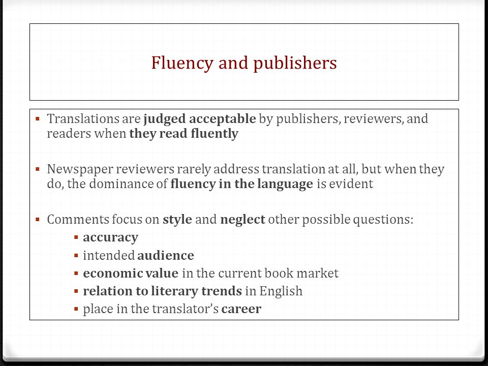 Fluency and publishers