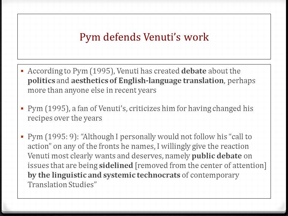 Pym defends Venuti's work
