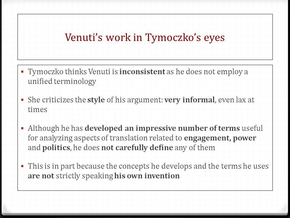 Venuti's work in Tymoczko's eyes