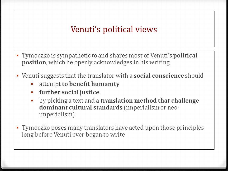 Venuti's political views