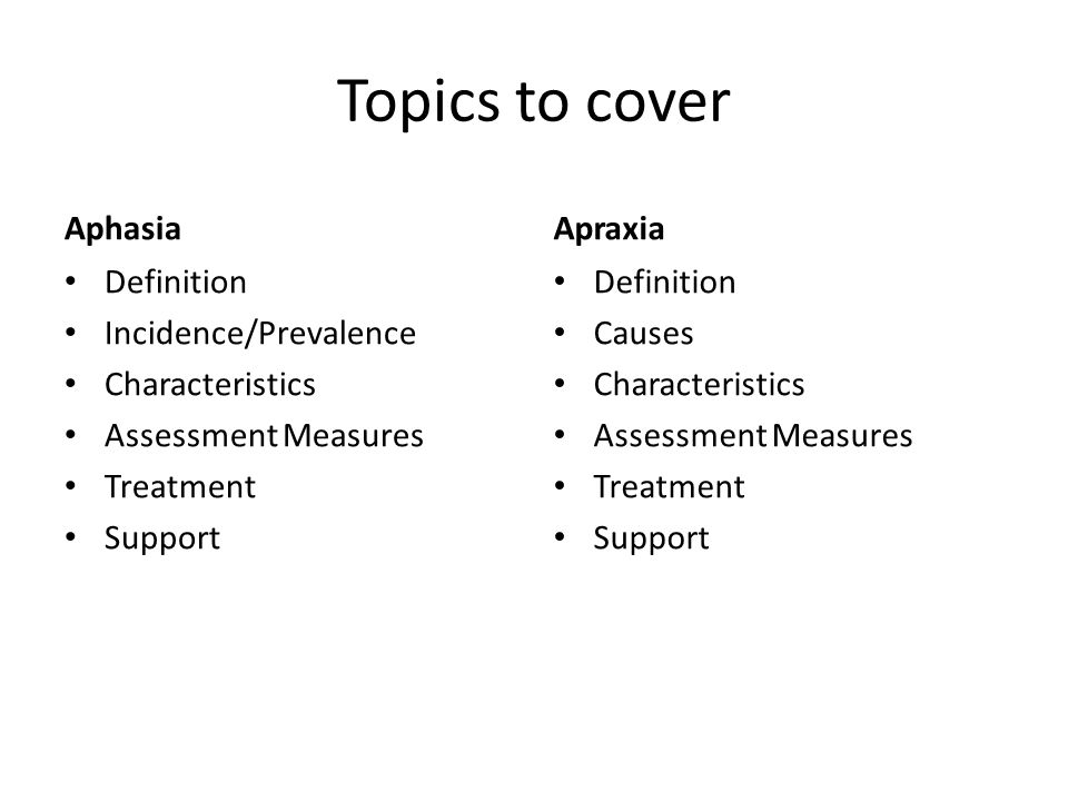 Topics to cover Aphasia Apraxia Definition Incidence/Prevalence