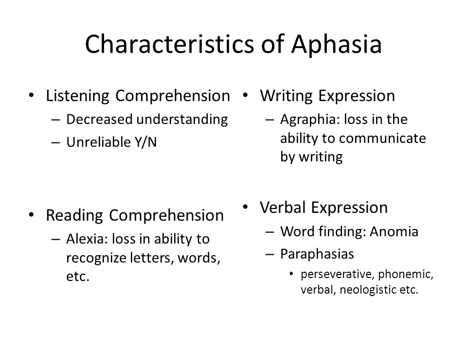 Characteristics of Aphasia