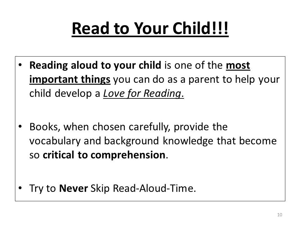 Read to Your Child!!!