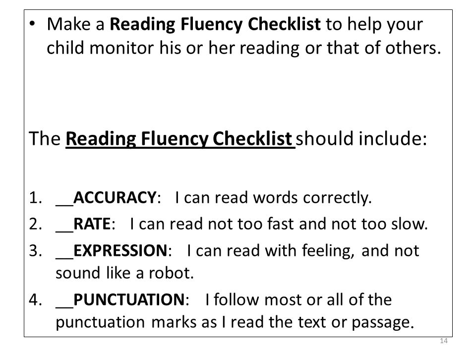 The Reading Fluency Checklist should include:
