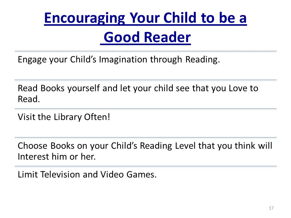 Encouraging Your Child to be a Good Reader