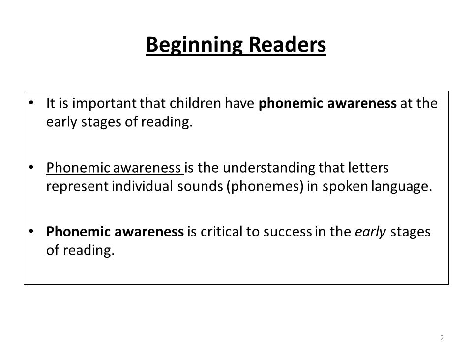 Beginning Readers It is important that children have phonemic awareness at the early stages of reading.