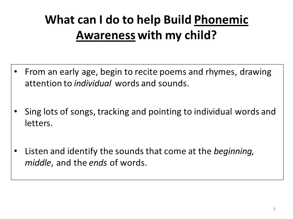What can I do to help Build Phonemic Awareness with my child