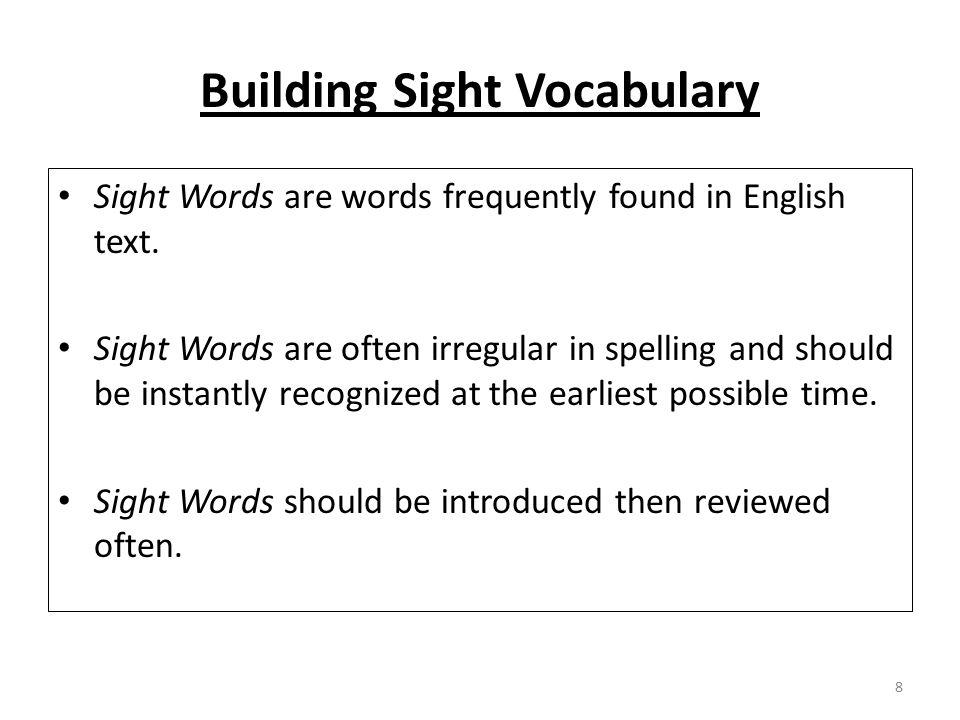 Building Sight Vocabulary