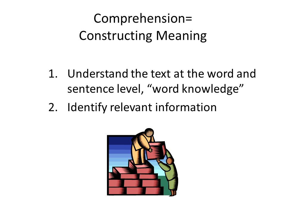 Comprehension= Constructing Meaning