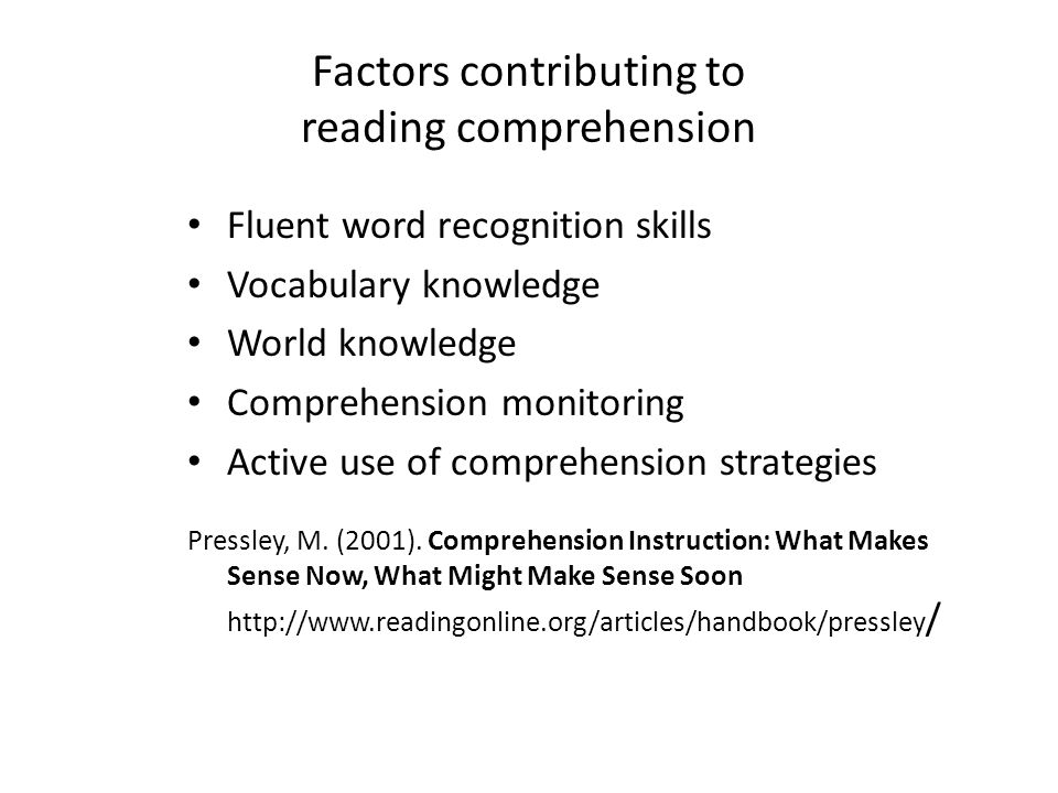 Factors contributing to reading comprehension