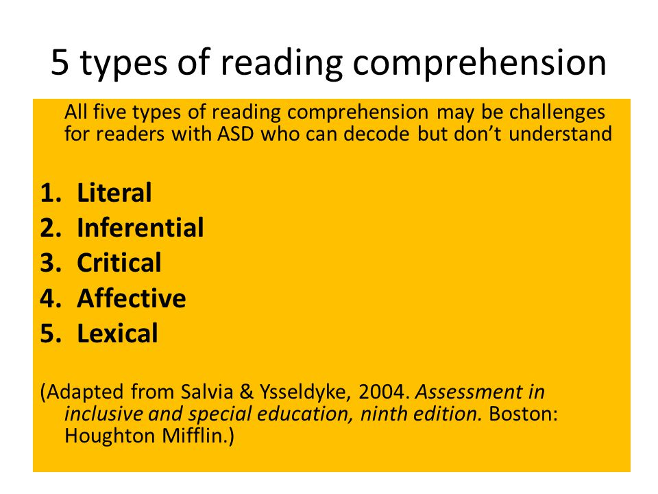 5 types of reading comprehension