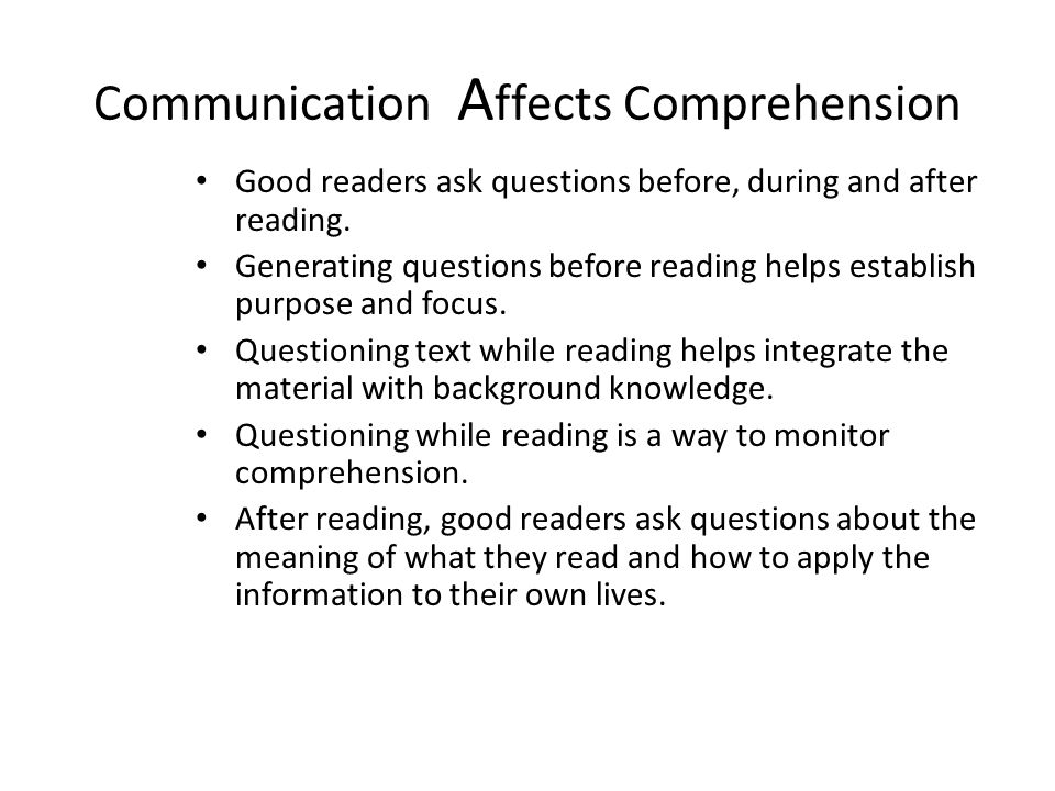 Communication Affects Comprehension