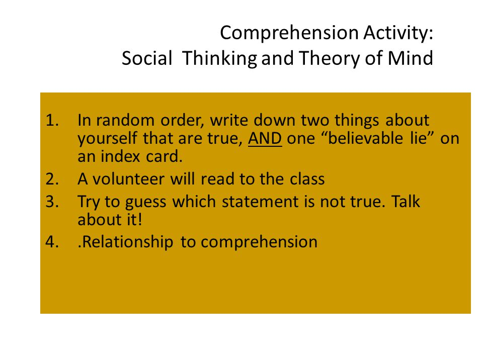 Comprehension Activity: Social Thinking and Theory of Mind