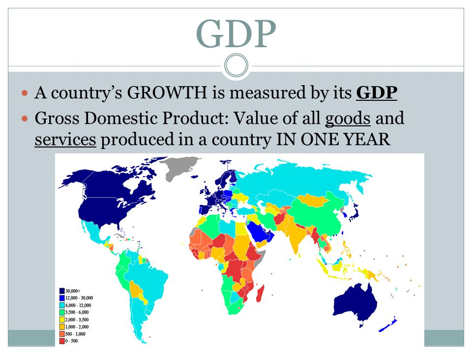 GDP A country's GROWTH is measured by its GDP