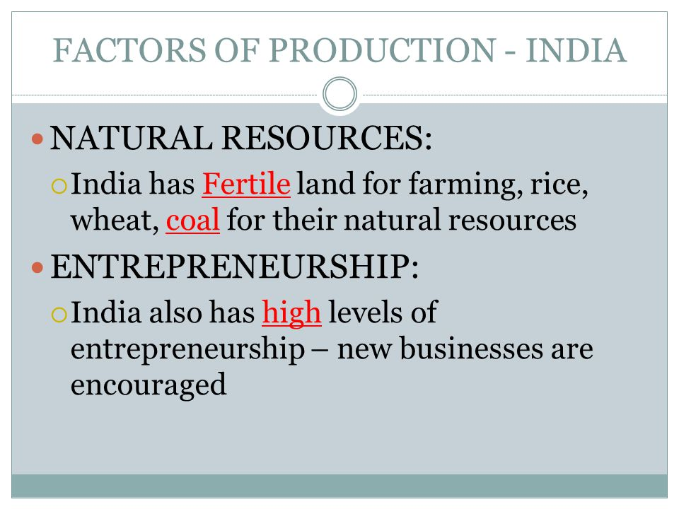 FACTORS OF PRODUCTION - INDIA