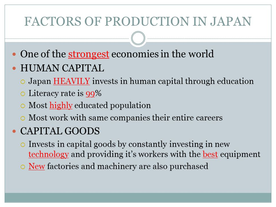 FACTORS OF PRODUCTION IN JAPAN