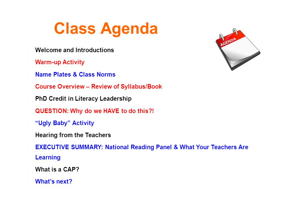 Class Agenda Welcome and Introductions Warm-up Activity
