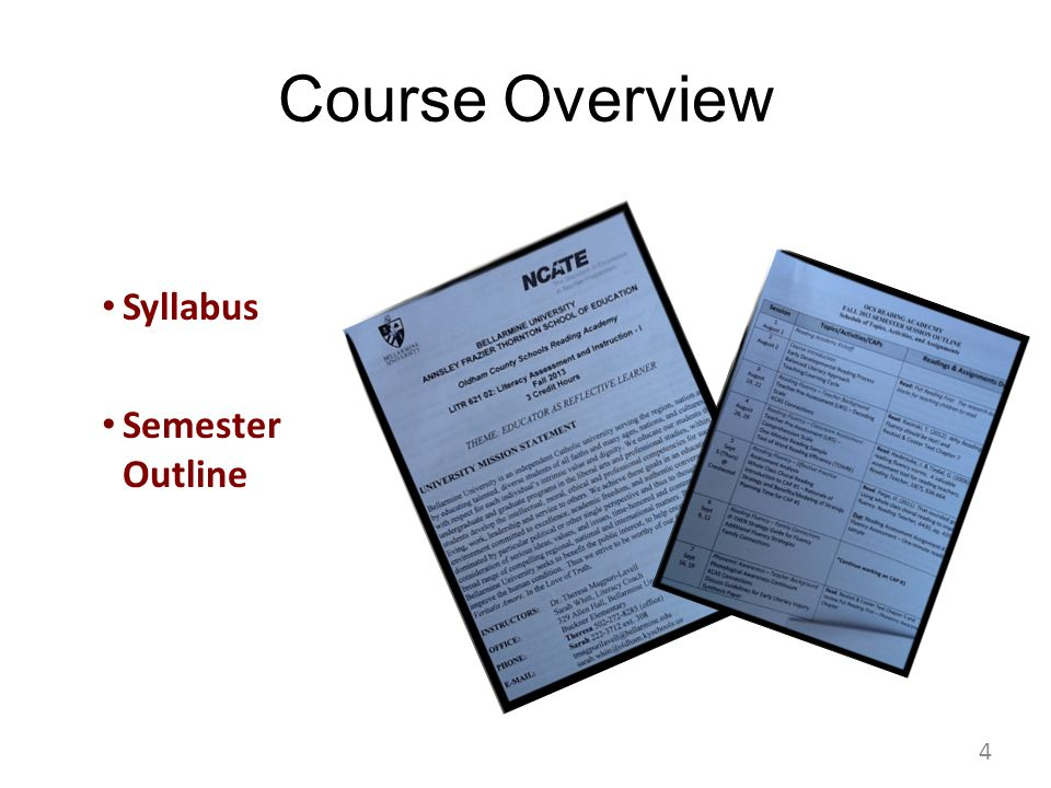 Course Overview Syllabus Semester Outline 4