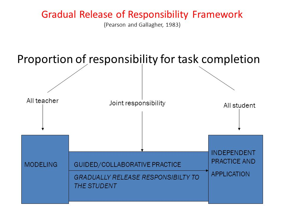 Proportion of responsibility for task completion
