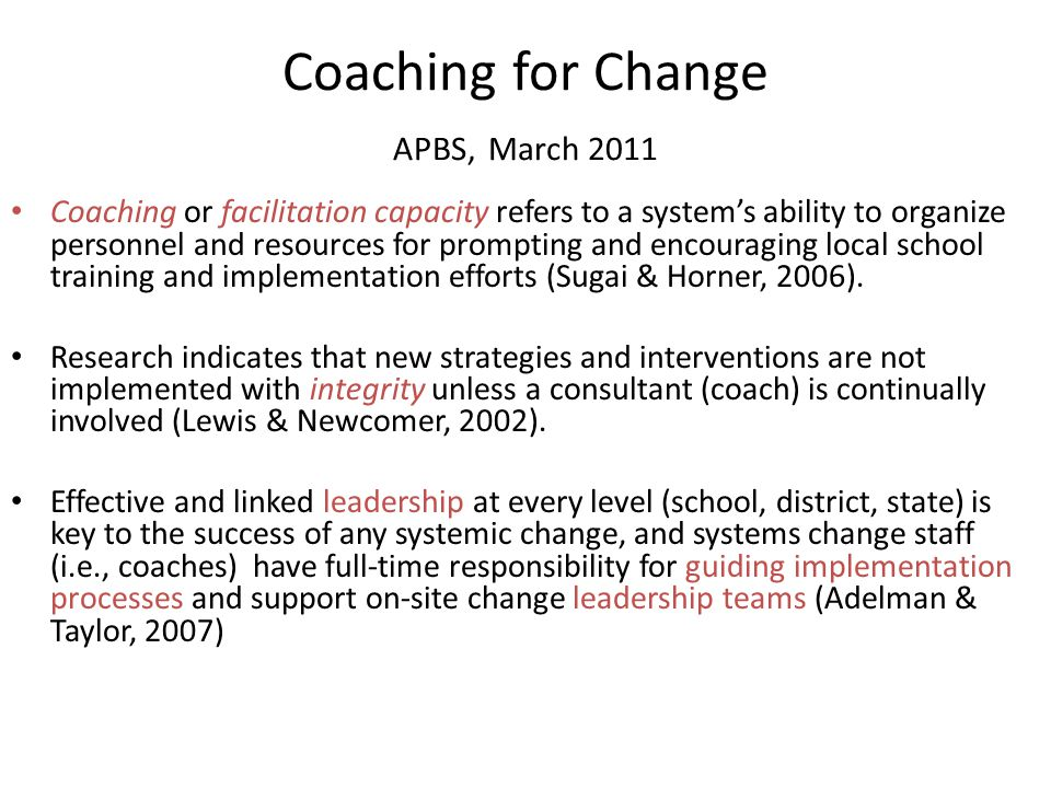 Coaching for Change APBS, March 2011