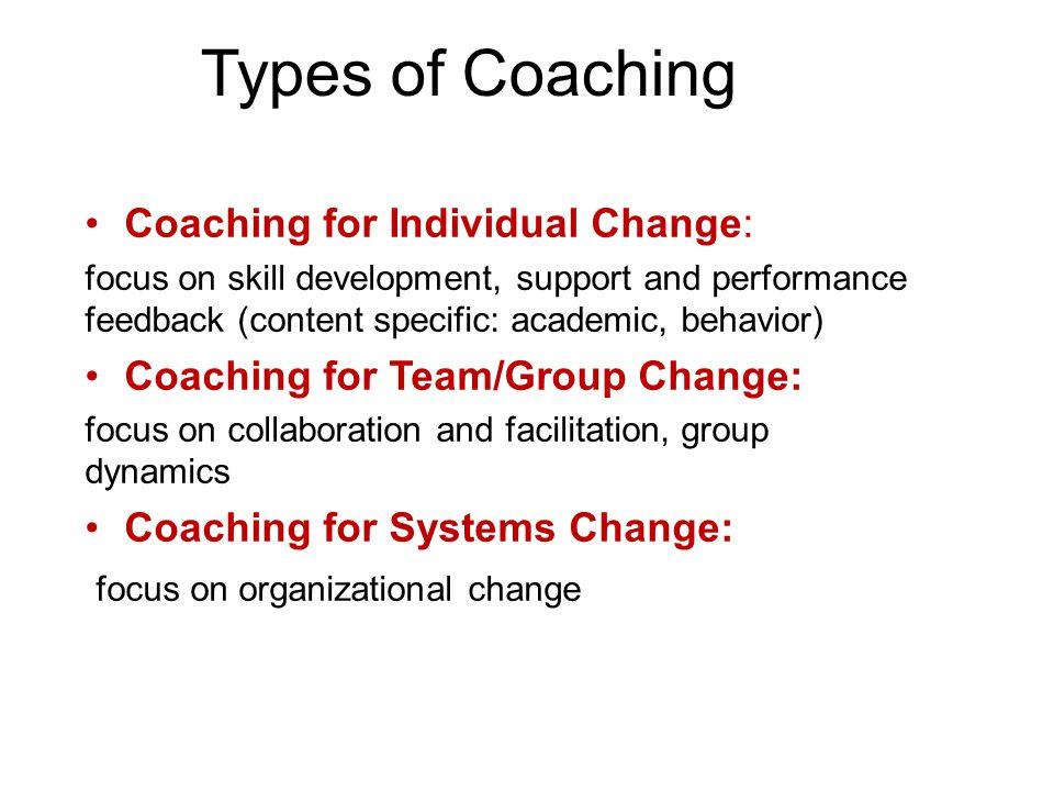Types of Coaching Coaching for Individual Change: