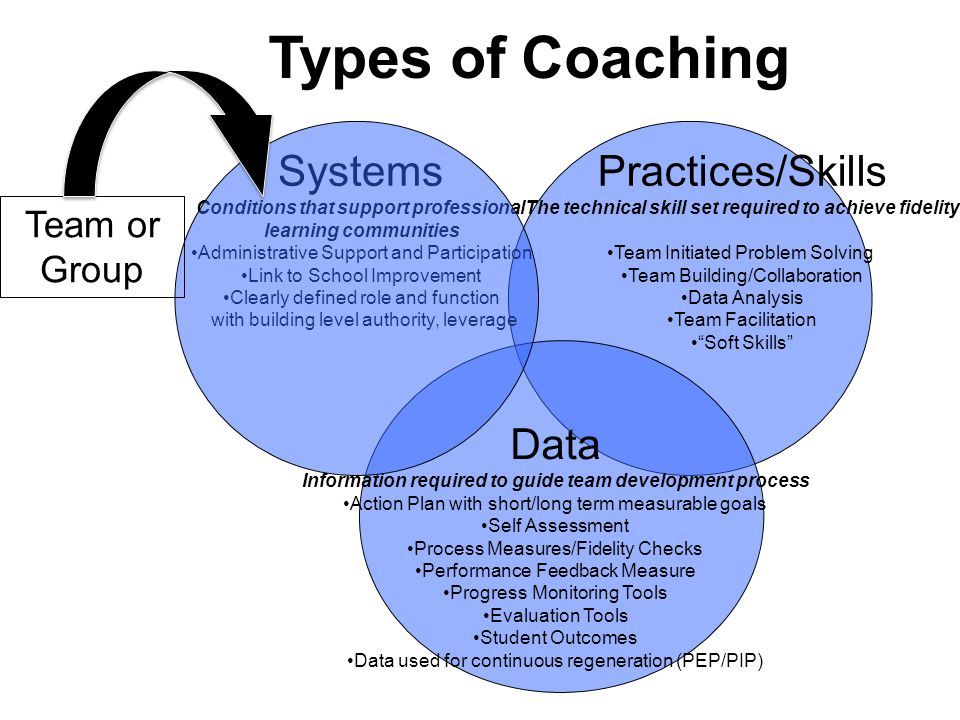 Types of Coaching Systems Practices/Skills Data Team or Group