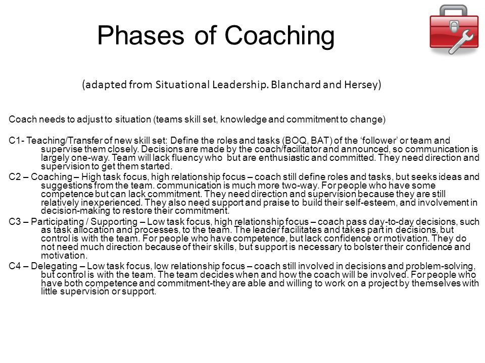 Phases of Coaching (adapted from Situational Leadership. Blanchard and Hersey)