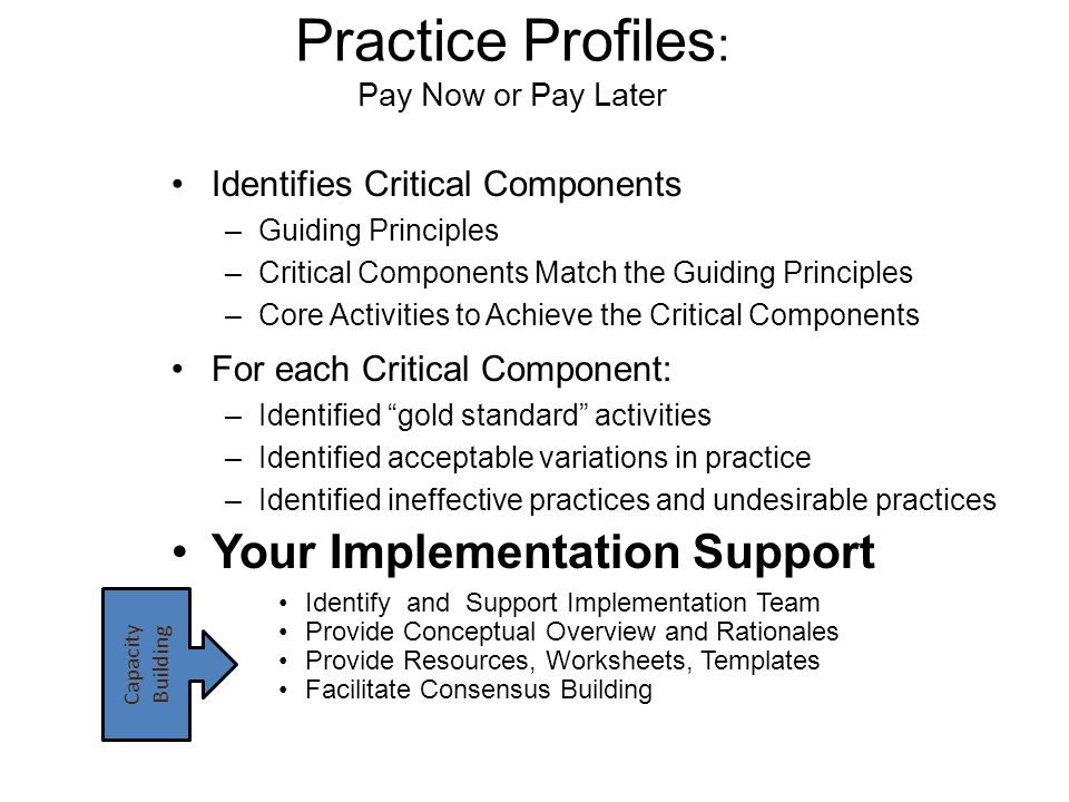 Practice Profiles: Pay Now or Pay Later